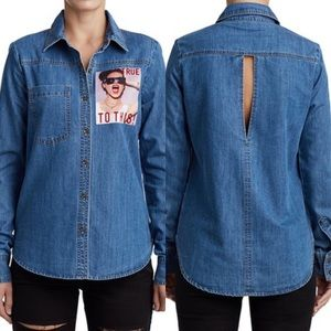 True Religion Demin Cut Out Button Up